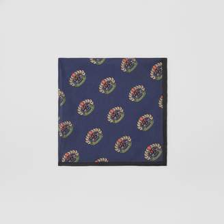 Burberry Archive Logo Print Silk Pocket Square