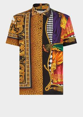 Versace Signature-Sipario Print Short Sleeve Shirt