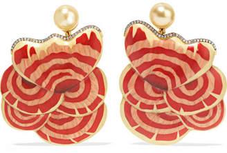 Silvia Furmanovich Botanical Marquetry 18-karat Gold And Wood Multi-stone Earrings