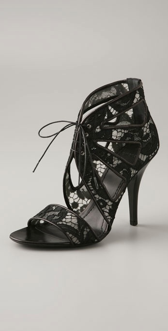 Givenchy Shoes Lace Open Toe Sandal Bootie