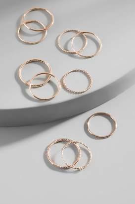 francesca's Hadley Stacking Ring Set in Rose Gold - Rose/Gold