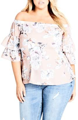 City Chic Floral Print Off the Shoulder Top