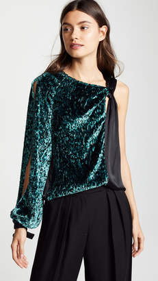 Yigal Azrouel One Sleeve Velvet Burnout Top