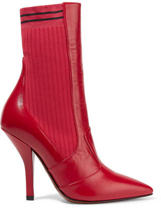 Fendi Rockoko Leather And Ribbed Stretch-knit Sock Boots - Red
