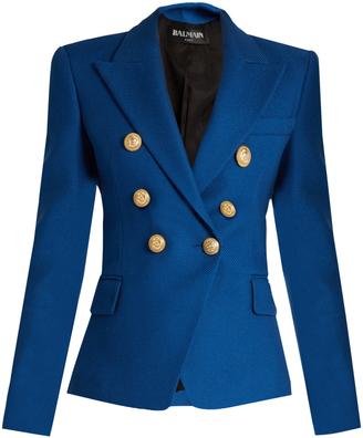 BALMAIN Double-breasted cotton-piqué blazer $1,532 thestylecure.com