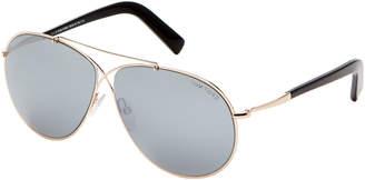 Tom Ford TF374 Rose Gold-Tone & Black Eva Aviator Sunglasses