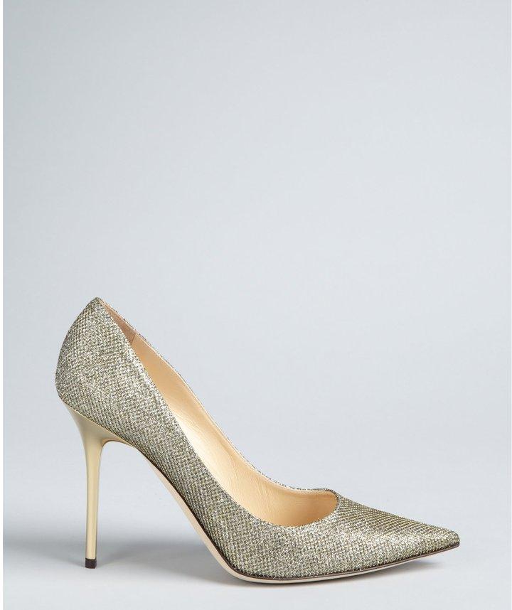 Jimmy Choo pale gold glitter 'Abel' pointed toe pumps