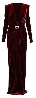 Alexandre Vauthier Women's Velvet Jersey Long-Sleeve Deep V-Neck Column Gown