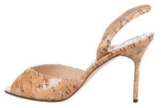 Manolo Blahnik Cork Slingback Sandals Tan Cork Slingback Sandals