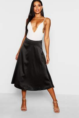 boohoo Satin Full Circle Midi Skater Skirt