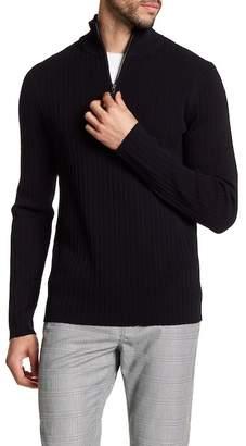 Vince Half-Zip Mock Neck Ribbed Sweater