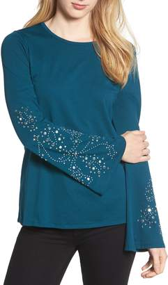 MICHAEL Michael Kors Embellished Bell Sleeve Top