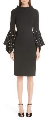 Badgley Mischka Platinum Beaded Flare Cuff Sheath Dress