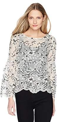Karen Kane Women's Embroidered Flare Sleeve Top