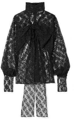 Christopher Kane Pussy-bow Lace Blouse - Black