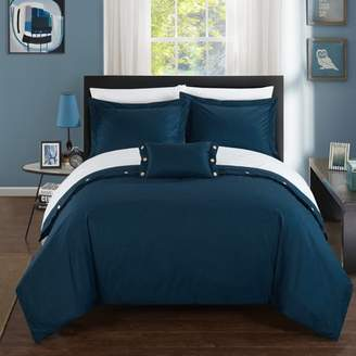Chic Home 8-Piece Astrid 200 Thread Count COMBED FINISH 100% Cotton Twill Weave Decorative Button Closure Detail King Bed In a Bag Duvet Set Navy With sheet set