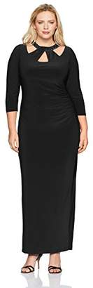 Marina Women's Size Jersey Embellished Neck Gown Plus