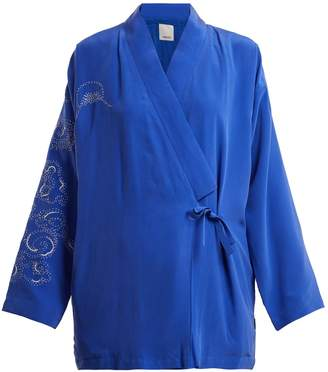 MHI Abstract-embroidered silk kimono
