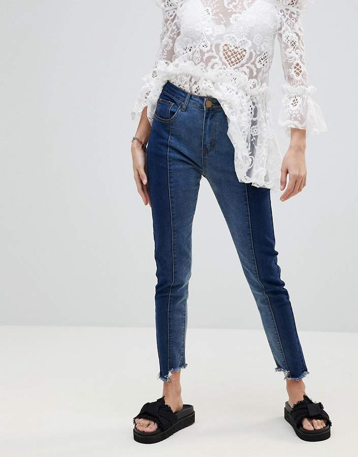 PrettyLittleThing Contrast Twisted Seam Skinny Jeans