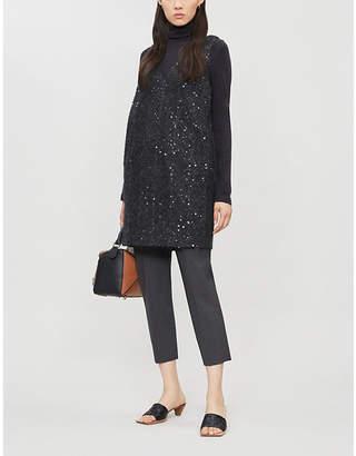 Brunello Cucinelli Turtleneck layered embellished mohair-blend dress