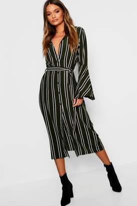 boohoo Bold Stripe Flute Sleeve Midaxi Shirt Dress