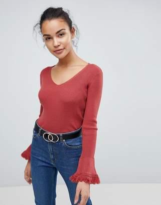 Fashion Union Flare Sleeve V Neck Sweater With Fringe Sleeves