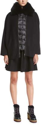 Moncler Buxus Coat & Quilted Puffer Vest W/ Fur Trim