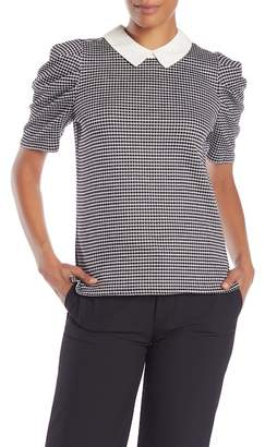 Cynthia Steffe CeCe by Checkered Elbow Sleeve Blouse