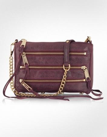 Rebecca Minkoff Mini 5 Zip Leather Clutch/Shoulder Bag