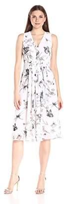 Anne Klein Women's Sleeveless Printed Chiffon Self Belted Vneck Midi Dress