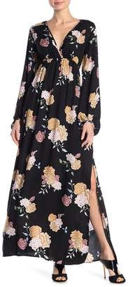 Love Stitch Blouson Sleeve Floral Print Slit Maxi Dress