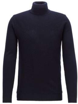 BOSS Hugo Turtleneck sweater in Italian merino wool rib patterns M Open Blue
