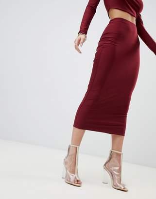 Fashionkilla bodycon midaxi skirt Two-piece in berry