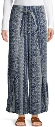 Style&Co. Style & Co. Tie-Front Printed Wide-Leg Pants
