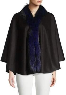 Sofia Cashmere Dyed Fox Fur Trim Cashmere Poncho