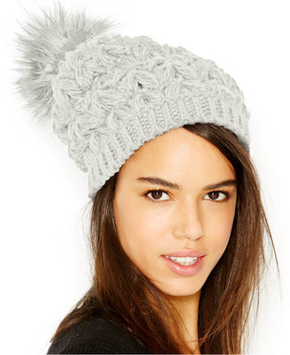Collection XIIX Homespun Solid Beanie With Faux Fur Pom Pom $28 thestylecure.com