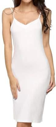 b43f028832f Halife Women s Solid Spaghetti Strap Full Slip Knee Length Camisole Under  Dress (XL