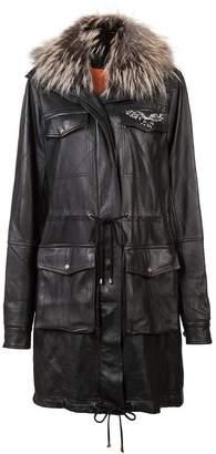 Nicole Miller long leather-parka coat