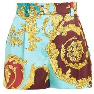 Versace High Rise Baroque Print Twill Shorts - Womens - Yellow Multi