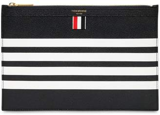 Thom Browne Small Zipper Pebbled Leather Pouch