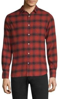 Officine Generale Plaid Cotton Casual Button-Down Shirt