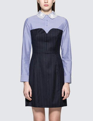 Sjyp Lace Collar Stripe Dress