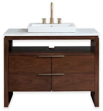 Avanity Giselle 43-Inch Vanity in Walnut with China Sink and Carrera White Marble Sink Top