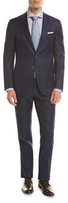 Isaia Sanita Tonal Windowpane Super 160s Wool Two-Piece Suit, Navy