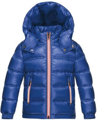 Moncler Gaston Web-Trim Quilted Down Coat, Bright Blue, Size 8-14 $595 thestylecure.com
