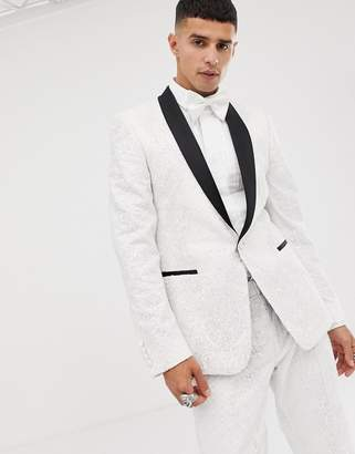Asos Edition EDITION skinny tuxedo suit jacket in sequin and lace embellished white sateen