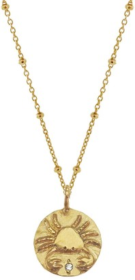 Yvonne Henderson Jewellery Gold Zodiac Necklace With White Sapphire Detail Cancer