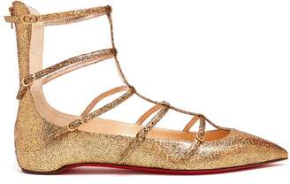 Christian Louboutin Toerless Muse Leather Flats - Womens - Gold