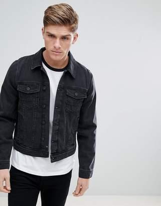 Burton Menswear Denim Jacket In Black Wash