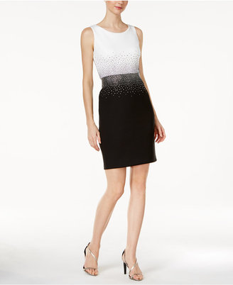 Calvin Klein Embellished Contrast Sheath Dress $139 thestylecure.com